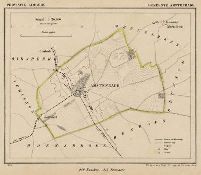 Gemeente Amstenrade anno ca. 1870, kaart J. Kuijper (collectie www.atlasenkaart.nl)
