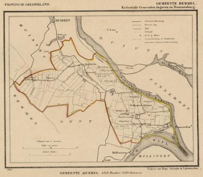 Kaart van de begin 19e eeuw opgeheven gemeenten Angeren en Doornenburg, situatie anno ca. 1870, kaart J. Kuijper (collectie www.atlasenkaart.nl)
