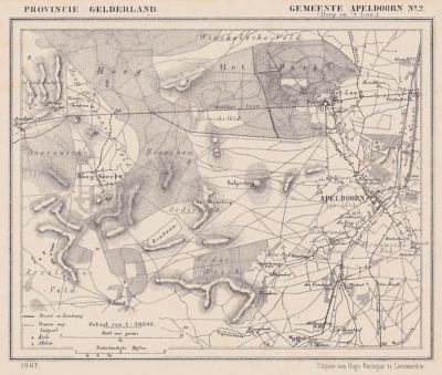 De - toen nog - dorpen Apeldoorn en Het Loo en omgeving anno ca. 1870, kaart J. Kuijper