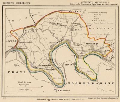 Gemeente Appeltern anno ca. 1870, kaart J. Kuijper, inclusief de in 1818 opgeheven gemeente Maasbommel, exclusief de in 1818 opgeheven gemeente Alphen