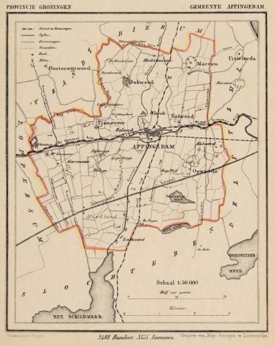 Gemeente Appingedam anno ca. 1870, kaart J. Kuijper (collectie www.atlasenkaart.nl)