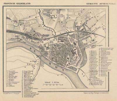 De stad Arnhem anno ca. 1870, kaart J. Kuijper