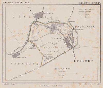 Gemeente Asperen anno ca. 1870, kaart J. Kuijper (© www.atlasenkaart.nl)