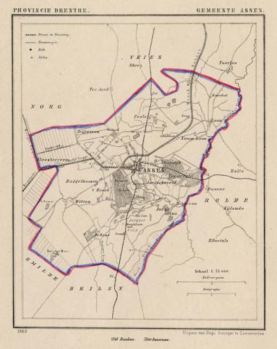 Gemeente Assen anno ca. 1870, kaart J. Kuijper (collectie www.atlasenkaart.nl)
