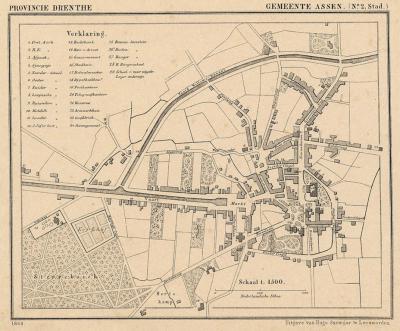 Stad Assen anno ca. 1870, kaart J. Kuijper (collectie atlasenkaart.nl)
