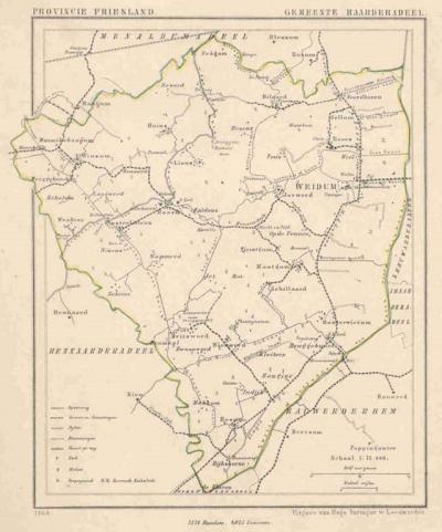 Gemeente Baarderadeel anno ca. 1870, kaart J. Kuijper (collectie www.atlasenkaart.nl)