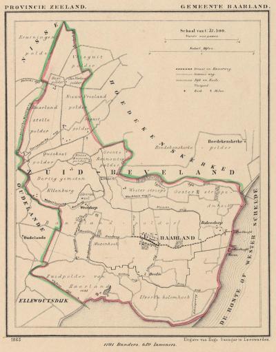 Gemeente Baarland anno ca. 1870, kaart J. Kuijper (© www.atlasenkaart.nl)