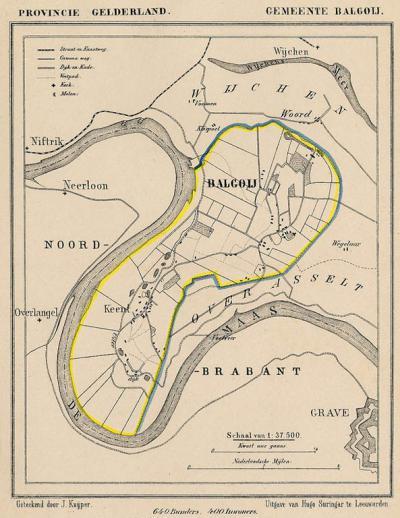 Gemeente Balgoij anno ca. 1870, kaart J. Kuijper