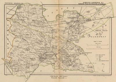 Gemeente Barneveld anno ca. 1870, kaart J. Kuijper, inclusief de in 1818 opgeheven gemeente Voorthuizen, exclusief de in 1818 opgeheven gemeente Garderen
