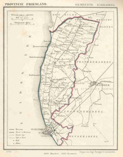Gemeente Barradeel anno ca. 1870, kaart J. Kuijper (collectie www.atlasenkaart.nl)