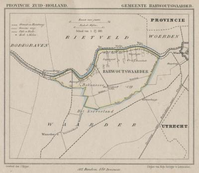 Gemeente Barwoutswaarder anno ca. 1870, kaart J. Kuijper (collectie www.atlasenkaart.nl)