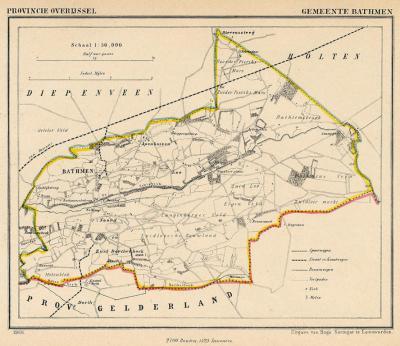 Gemeente Bathmen anno ca. 1870, kaart J. Kuijper (collectie www.atlasenkaart.nl)