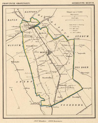 Gemeente Bedum anno ca. 1870, kaart J. Kuijper (collectie www.atlasenkaart.nl)