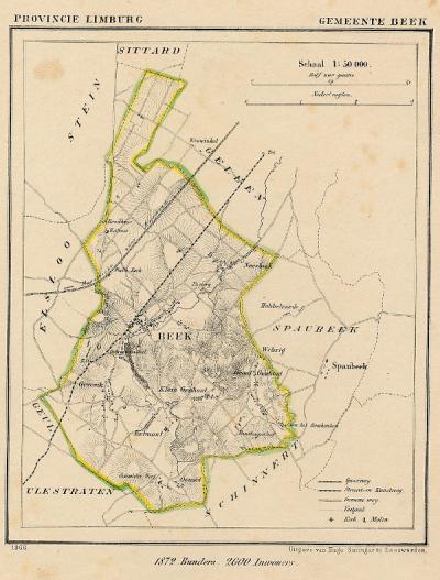 Gemeente Beek anno ca. 1870, kaart J. Kuijper (collectie www.atlasenkaart.nl)