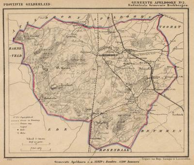 Kaart van de in 1818 opgeheven gemeente Beekbergen, situatie anno ca. 1870, kaart J. Kuijper