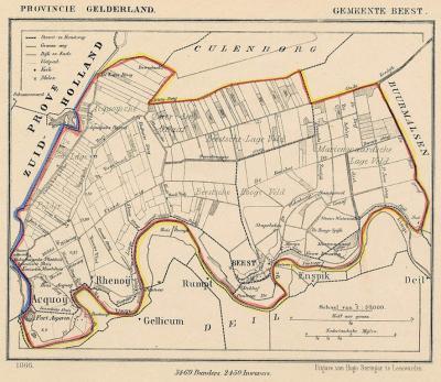 Gemeente Beesd anno ca. 1870, kaart J. Kuijper (collectie www.atlasenkaart.nl)