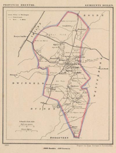 Gemeente Beilen anno ca. 1870, kaart J. Kuijper (collectie www.atlasenkaart.nl)