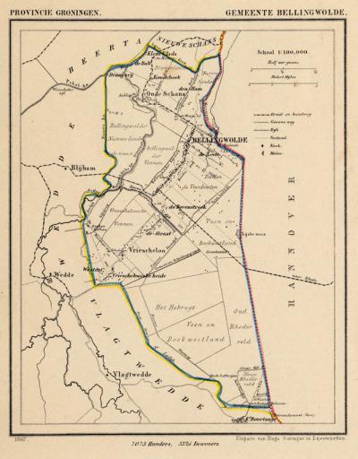 Gemeente Bellingwolde anno ca. 1870, kaart J. Kuijper (collectie www.atlasenkaart.nl)