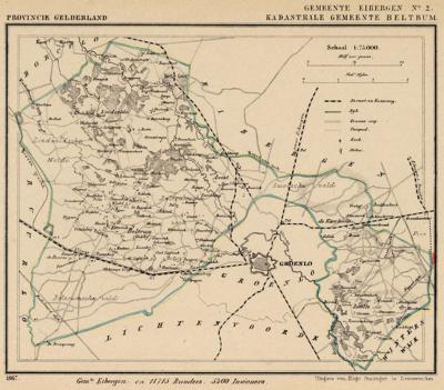 Kaart van de in 1819 opgeheven gemeente Beltrum, situatie anno ca. 1870, kaart J. Kuijper