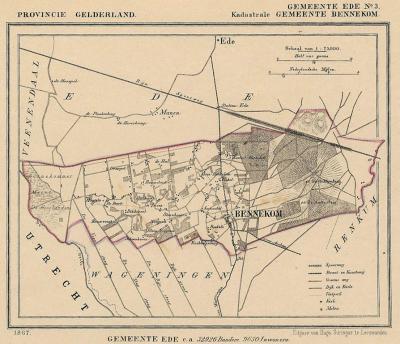 Kaart van de in 1818 opgeheven gemeente Bennekom, situatie anno ca. 1870, kaart J. Kuijper (collectie atlasenkaart.nl)