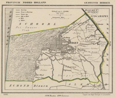Gemeente Bergen (NH) anno ca. 1870, kaart J. Kuijper (© www.atlasenkaart.nl)