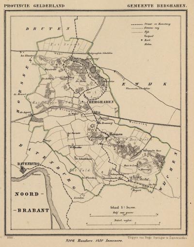 Gemeente Bergharen anno ca. 1870, kaart J. Kuijper