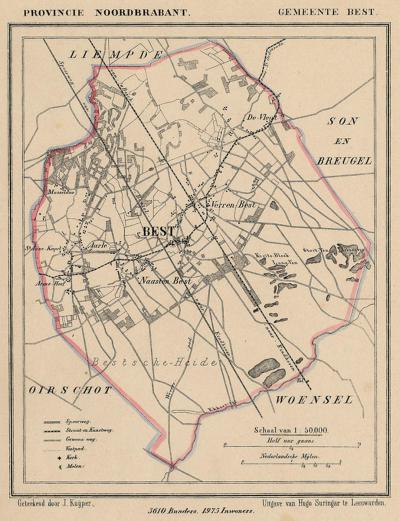 Gemeente Kedichem anno ca. 1870, kaart J. Kuijper (collectie www.atlasenkaart.nl)