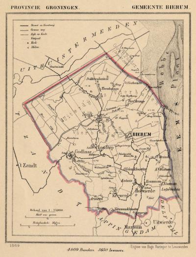 Gemeente Bierum anno ca. 1870, kaart J. Kuijper (collectie www.atlasenkaart.nl)