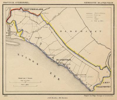 Gemeente Blankenham anno ca. 1870, kaart J. Kuijper (collectie www.atlasenkaart.nl)