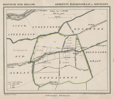 Gemeente Bleskensgraaf en Hofwegen anno ca. 1870, kaart J. Kuijper (collectie www.atlasenkaart.nl)