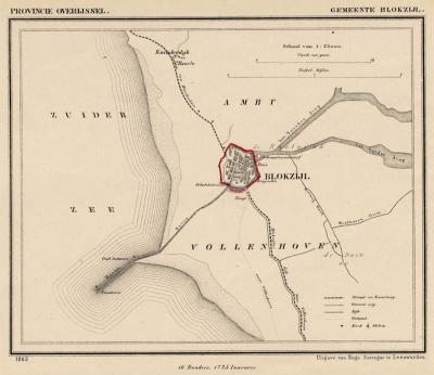 Gemeente Blokzijl anno ca. 1870, kaart J. Kuijper (collectie www.atlasenkaart.nl)