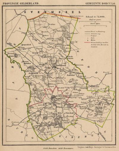 Gemeente Borculo anno ca. 1870, kaart J. Kuijper. Dankzij de gekleurde grenslijn tussen Borculo en Geesteren kun je zien hoe de gemeente Geesteren en de oorspronkelijke gemeente Borculo eruit hebben gezien.