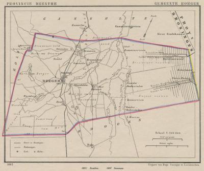 Gemeente Borger anno ca. 1870, kaart J. Kuijper