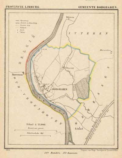 Gemeente Borgharen anno ca. 1870, kaart J. Kuijper (collectie www.atlasenkaart.nl)