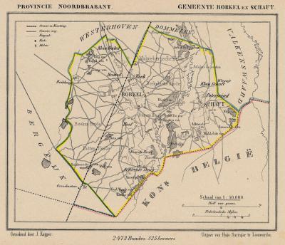Gemeente Borkel en Schaft anno ca. 1870, kaart J. Kuijper (collectie www.atlasenkaart.nl)
