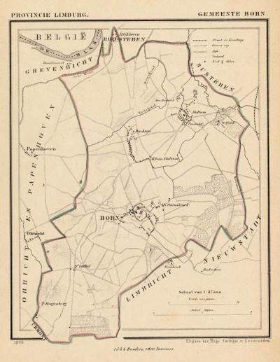 Gemeente Born anno ca. 1870, kaart J. Kuijper (collectie www.atlasenkaart.nl)
