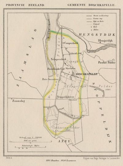Gemeente Boschkapelle anno ca. 1870, kaart J. Kuijper (© www.atlasenkaart.nl)