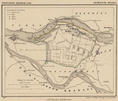 Gemeente Brakel anno ca. 1870, kaart J. Kuijper