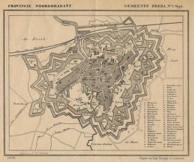 Stad Breda anno ca. 1870, kaart J. Kuijper (collectie atlasenkaart.nl)
