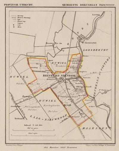 Gemeente Breukelen-Nijenrode anno ca. 1870, kaart J. Kuijper