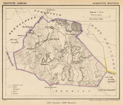 Gemeente Brunssum anno ca. 1870, kaart J. Kuijper (collectie www.atlasenkaart.nl)