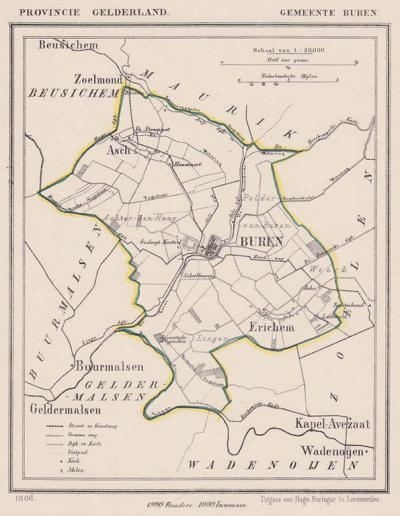 Gemeente Buren anno ca. 1870, kaart J. Kuijper