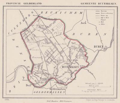 Gemeente Buurmalsen anno ca. 1870, kaart J. Kuijper