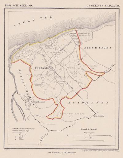 Gemeente Cadzand anno ca. 1870, kaart J. Kuijper (© www.atlasenkaart.nl)