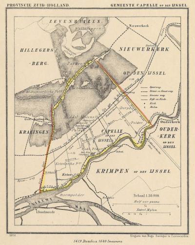 Gemeente Capelle aan den IJssel anno ca. 1870, kaart J. Kuijper (collectie www.atlasenkaart.nl)
