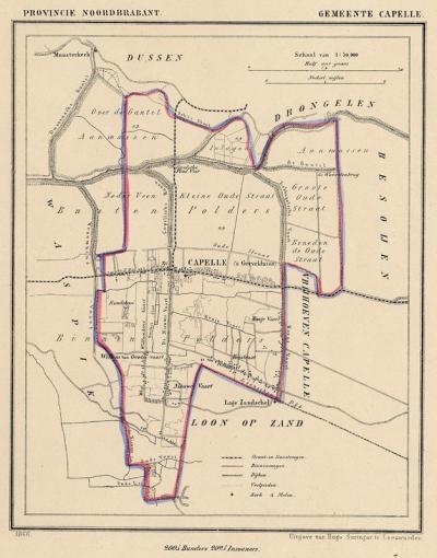 Gemeente Capelle anno ca. 1870, kaart J. Kuijper (© www.atlasenkaart.nl)
