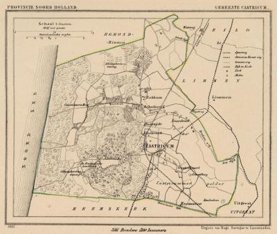Gemeente Castricum anno ca. 1870, kaart J. Kuijper. De gemeente omvatte toen alleen nog de in die tijd nog piepkleine dorpen Castricum en Bakkum, met ieder slechts enkele tientallen huizen, en daaromheen nog een handvol eveneens kleine buurtschappen.