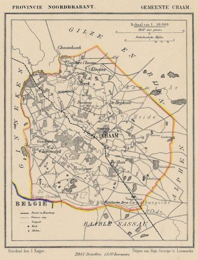 Gemeente Chaam anno ca. 1870, kaart J. Kuijper (© www.atlasenkaart.nl)