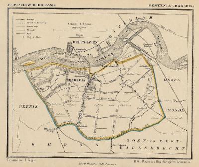 Gemeente Charlois anno ca. 1870, kaart J. Kuijper (collectie www.atlasenkaart.nl)