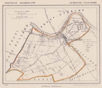 Gemeente Culemborg anno ca. 1870, kaart J. Kuijper